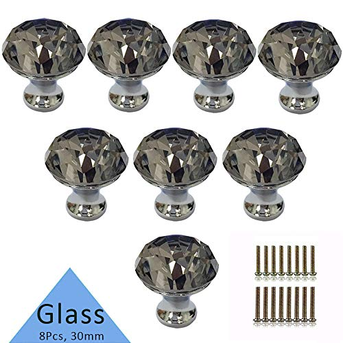 Tencro 8Pcs 30mm Diamond Shaped Luxus Kristall Knöpfe Glas Knöpfe mit Schrauben für Schublade Tür, Schranktür, Schranktür, Küche, etc. - grau