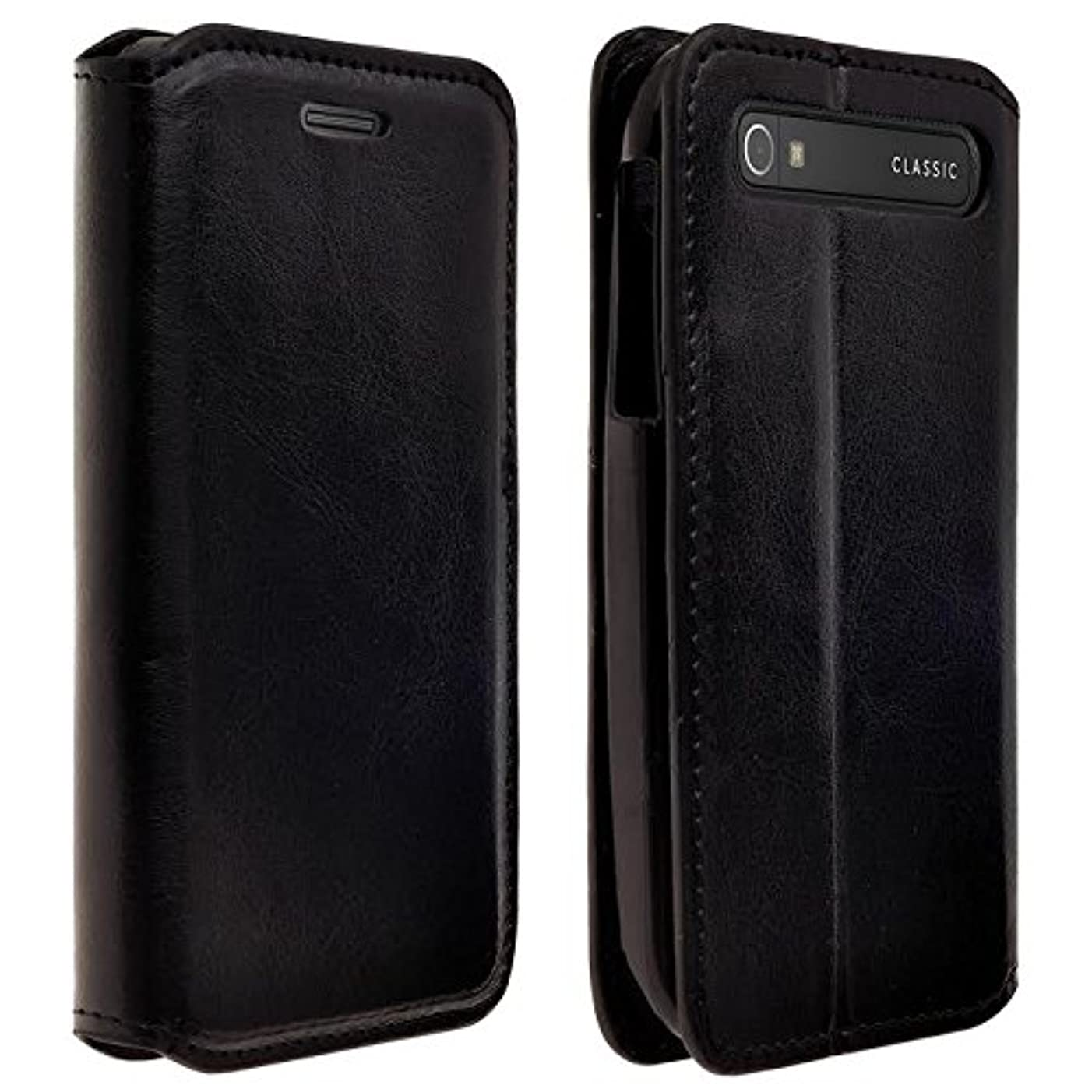 BlackBerry Classic (T-Mobile Case) - Magnetic Leather Folio Flip Book Wallet Pouch Case Cover With Fold Up Kickstand (Black Slim Leather Wallet)