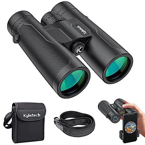 Binoculares, Kylietech 12X 42 Prismaticos Portátiles Impermeables, con Estuche de Transporte y Adaptador para Teléfono Inteligente, para Observación de Aves, Viajes, Astronomía y Camping