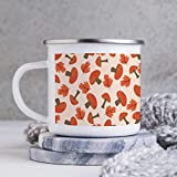 Taza esmaltada de 10 oz para acampar, taza de café esmaltada para acampar, taza de café esmaltada para exteriores, color naranja con diseño de setas, melocotón, vasos con asa, para uso doméstico, ofic
