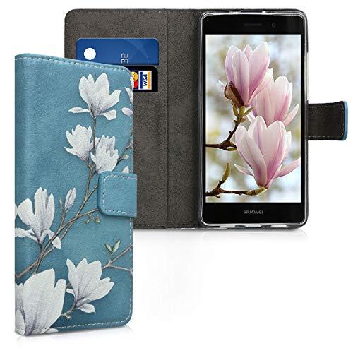 kwmobile Hülle kompatibel mit Huawei P8 Lite (2015) - Kunstleder Wallet Case mit Kartenfächern Stand Magnolien Taupe Weiß Blaugrau