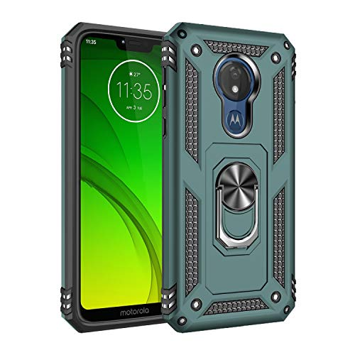 Motorola G7 Power Case Cover,Moto G7 Supra Case,Tough Heavy Protective 360 Metal Rotating Ring Kickstand Holder Grip Built-in Magnetic Metal Plate Armor Heavy Duty Shockproof (Blackish Green)