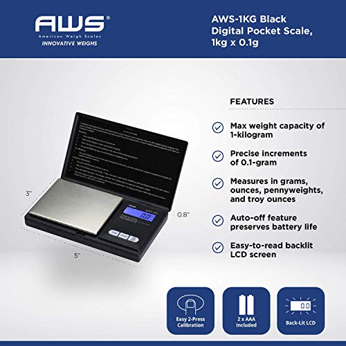 American Weigh Scales Precision Pocket Weight Scale