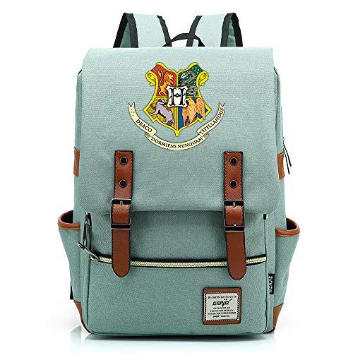 Harry P Rucksack, Hogwarts College Potter Rucksack, Casual Fashion Student Tasche, Gold Reißverschluss Mittel Hellgrün