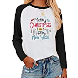 Tekaopuer Sudadera estampada con patrón de Navidad, camiseta de manga larga de bloque de color, suéter casual suelto para mujeres y señoras, Negro, L