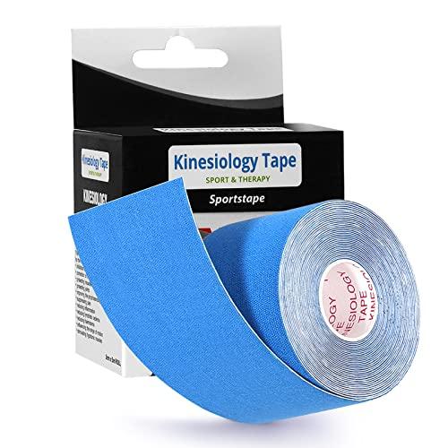 LEBEXY Kinesiotapes angenehmer Tragekomfort | Kinesiologie Tape elastisch wasserfest | Kinesiologie-Tape | Physio-Tape | Therapie-Tape | Hautfreundlich Kinesio Tapes für Sport & Fitness, 5cmx5m (Blau)