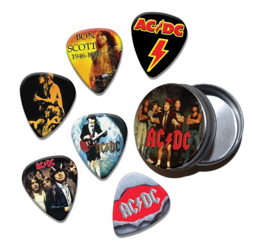 ACDC Set of 6 Loose Gitarre Plektrums in Tin (Collection D) AUS
