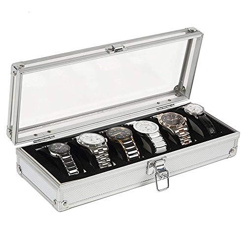 Relojes Box Watches Box Mens Reloj Box Elegante Almacenamiento para hasta 6 relojes de pulsera Pulsera de joyería Colecciones para la visualización del reloj de regalo (Color: Plata, Tamaño: 33 * 12.3