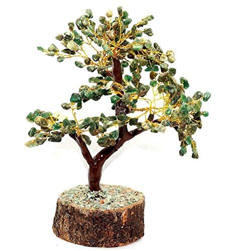 Odishabazaar Natural Stone Feng Shui Bonsai Money Tree for Good Luck Chakra Balancing Crystal Gemstone Energy Decor Home Gift Size -9 Inch m-Seal (Green Jade)