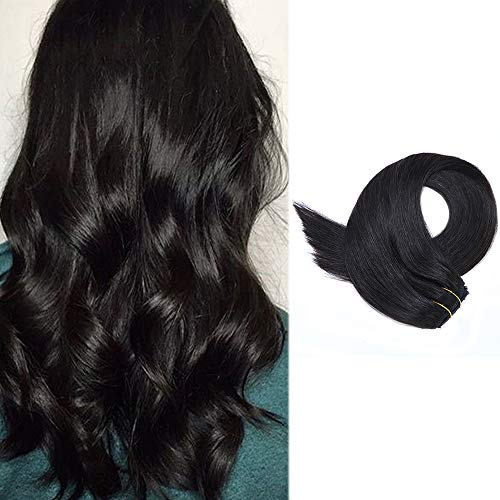 Hair Extensions Clip on 15 Inch Short Straight Black Clip in Human Hair Exensions 70grams 7pcs Silky Soft Remy Hair Clips in(#1B Natural Black)