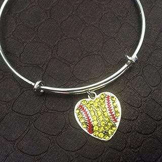 Softball Heart Expandable Charm Bracelet Silver Adjustable Bangle Team Coach Gift