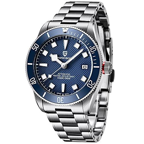 Pagani Design - Reloj de Pulsera para Hombre, Color Negro Bay Homage 42 mm, Movimiento automático japonés NH35, Cristal de Zafiro, Acero Inoxidable 316L, Resistente al Agua 100 m
