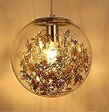 Luces Colgantes de Bola de Cristal E27 Lámpara Colgante Flor Deco Luminaria Colgante Dormitorio Restaurante Tienda Cafe Bar (Oro)