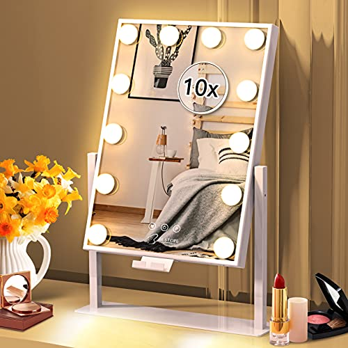 Vanity Mirror with Lights Hollywood Mirror Lighted Makeup Mirror with Phone Holder,3 Color Lighting Modes Detachable 10X Magnification Mirror,14x21 Inch,Touch Control,360°Rotation