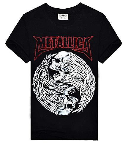 T-shirt met korte mouw - metalen t-shirt - mannelijk - jongen - mannelijk - man - rots - korte mouwen - punk - skelet - band - yin yang - schedel - zwart