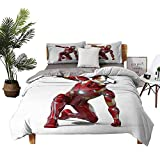 DRAGON VINES Four-Piece Bedding Satin Sheets Cotton Bed Sheets Queen Robot Transformer Hero with Superpower in Costume Cyber Man Fun Character Print White Maroon Super Soft Fiber W80 xL90