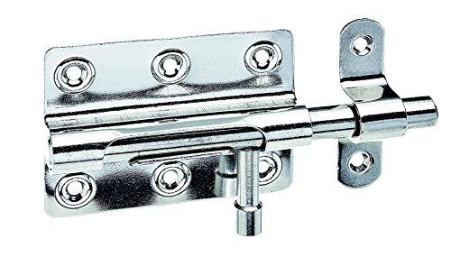GAH-Alberts 327040 Bolzenriegel mit rundem Griff, mit befestigter Schlaufe, Edelstahl, 80 x 59 mm