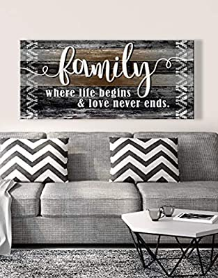 Sense of Art | Family is Where Life Begins and Love Never Ends Quote | Wood Framed Canvas | Ready to Hang Family Wall Art for Home and Kitchen Decoration from Sense Of Art