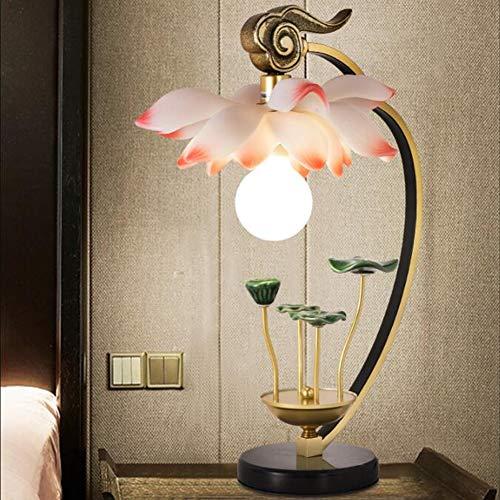 Nachtkastje Lamp Chinese Stijl Tafellamp Woonkamer Lamp Roze Lotus Bloem Lamp Keramiek Lotusblad Combinatie Basis Boeddha Lotus Light Side Tafellamp