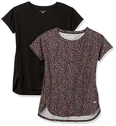 Amazon Essentials Studio Relaxed-fit Lightweight Crewneck T-Shirt Camiseta, Paquete de 2 Impresiones de Confeti Negro/Negro, S