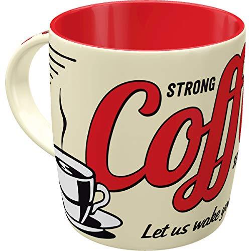 Nostalgic-Art Retro Kaffee-Becher - USA - Strong Coffee Served Here, Große Retro Tasse mit Spruch, Vintage Geschenk für Kaffee-Liebhaber, 330 ml