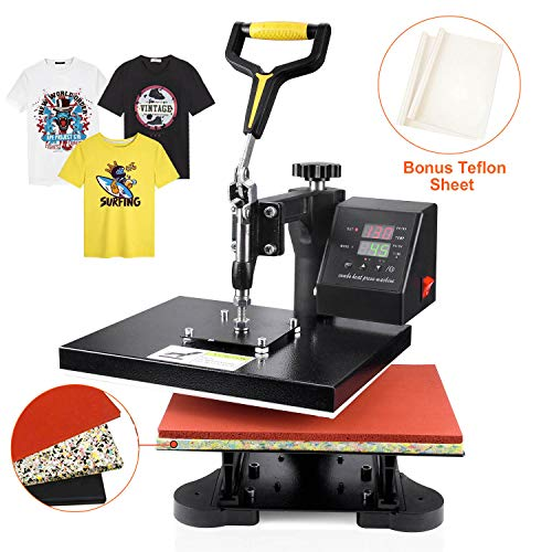 "Power Heat Press Machine 12"" X 10"" Professional Swing Away Heat Transfer with 2 Teflon Sheet Digital Sublimation 360 Degree Rotation for T Shirt"
