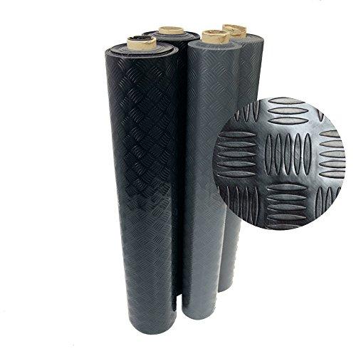 Rubber-Cal Diamond-Grip Floor Mat, Black, 2mm x 4 x 15-Feet