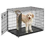MidWest Homes for Pets Ultima Pro Series 48' Dog Crate | Extra-Strong Double Door Folding Metal Dog Crate w/Divider Panel, Floor Protecting 'Roller Feet' & Leak-Proof Plastic Pan