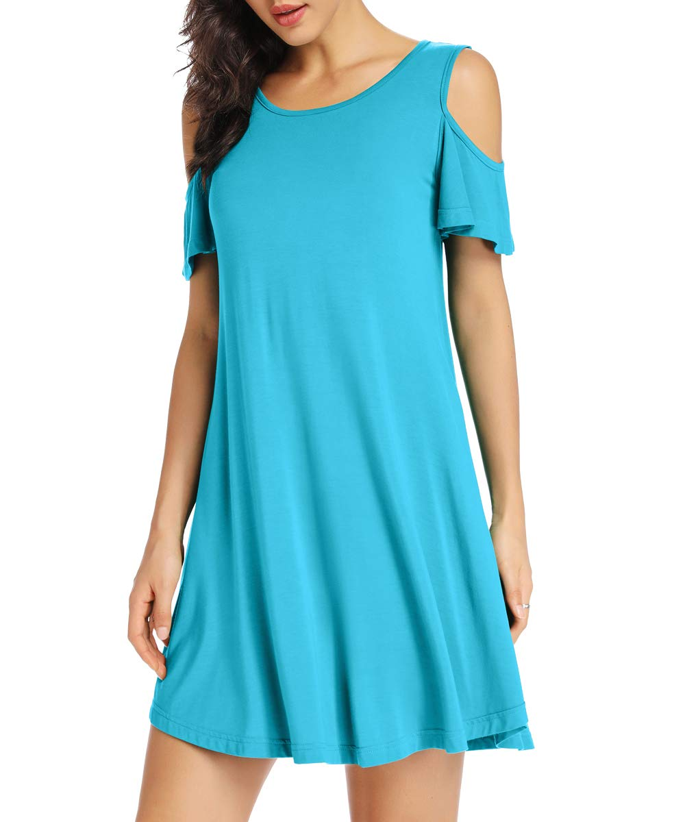 Available at Amazon: LATWIIV Women's Summer Cold Shoulder Tunic Top Casual Swing T-Shirt Loose Dress