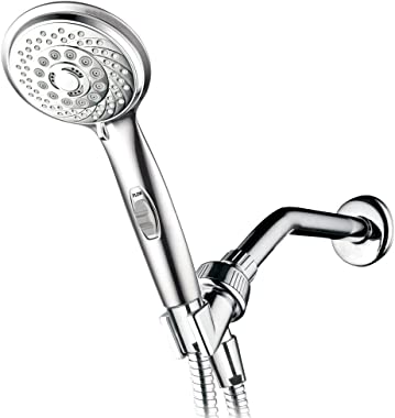 HotelSpa 7-setting AquaCare Series Spiral Handheld Shower Head Luxury Convenience Package with Pause Switch, Extra-long Hose