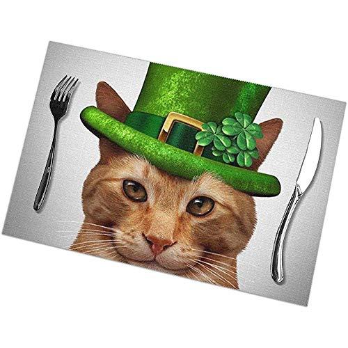 Water-wave groene hoed Cat Print Placemats Set van 6 gemakkelijk te reinigen duurzame anti-slip keuken tafelmatten