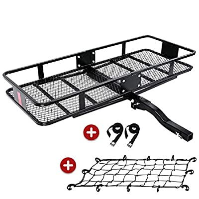 "KING BIRD Upgraded Extra-Thick Steel Shank 550 lbs Capacity 60"" x 24"" x 6"" Folding Cargo Carrier with Elastic Net and Packing Straps, Hitch Mount Luggage Basket Fits to 2-Inch Receiver"