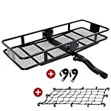 KING BIRD Upgraded Extra-Thick Steel Shank 550 lbs Capacity 60' x 24' x 6' Folding Cargo Carrier with Elastic Net and Packing Straps, Hitch Mount Luggage Basket Fits to 2-Inch Receiver