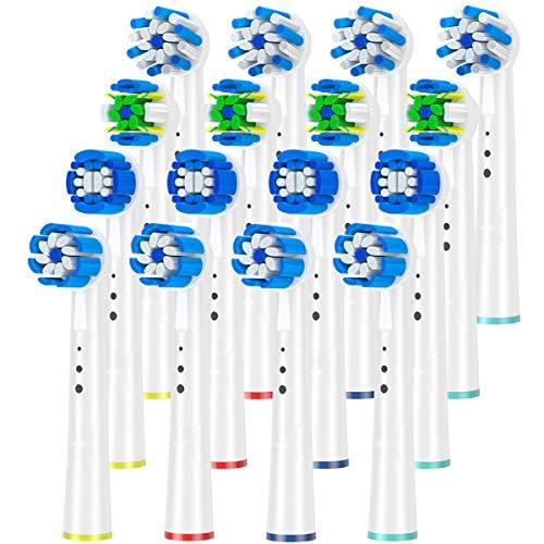 Têtes de brosse de rechange compatibles avec les poignées de brosse à dents électrique Oral B Braun, paquet de 16 KHBD, diverses brosses fonctionnelles