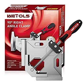 WETOLS Angle Clamp - 90 Degree Right Angle Clamp - Single Handle Corner Clamp with Adjustable Swing Jaw Aluminum Alloy for Woodworking Photo Framing Welding and Framing - WE705…