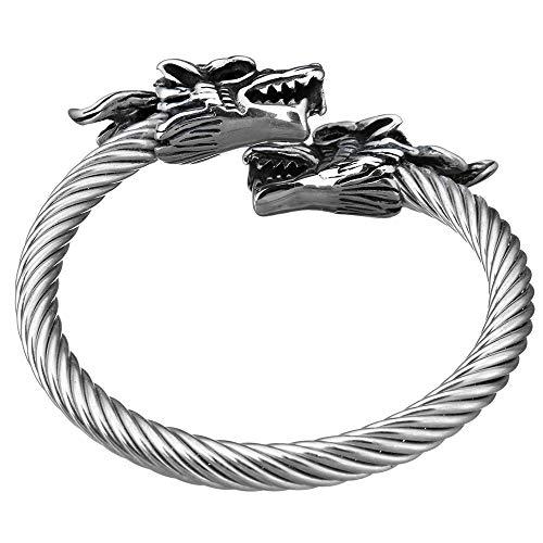 Bracelet Dragon - Bracelet en Tête de Dragon avec Un Style Viking et Acier tressé Inoxydable. Couleur Argent ou Or - Réglable