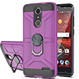 YmhxcY Case for ZTE Grand X4/Z956/Blade Spark/Blade Spark Z971/ZMAX One with HD Screen Protector 360 Degree Rotating Ring Kickstand Holder Dual Layers of Shockproof Phone Case for N956-ZS Purple