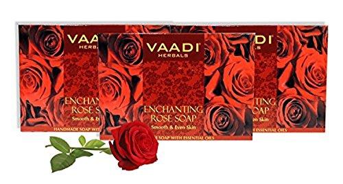 Vaadi Herbals Organic Body Soap Bar Red Rose Petal with Honey N Aloe Vera Extracts - 3 X 75 Gm