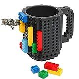 Build-On Brick Mug | Building Blocks Coffee Cup, Puzzle Toy Mug | Unique Funny Christmas Gift Idea (Grey)