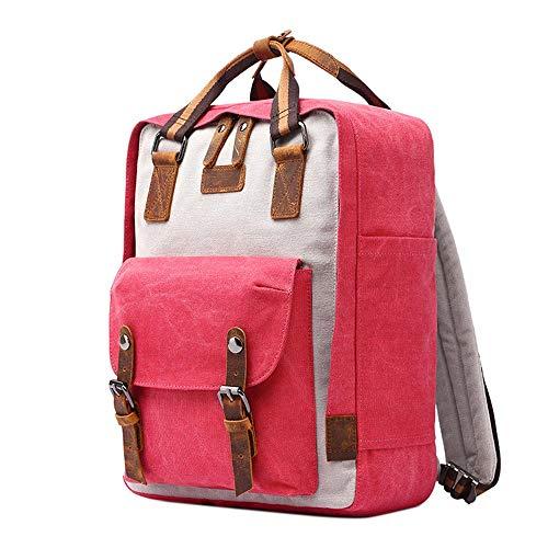 Neuleben Rucksack Daypack aus Canvas Damen Herren Vintage Backpack Schulrucksack Jungen Mädchen Teenager Rucksäcke mit Anti Diebstahl Laptopfach (Rot)