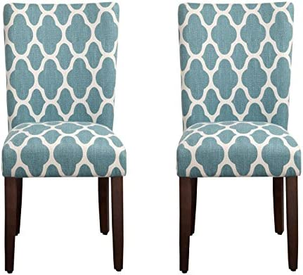 Best HomePop Parsons Classic Upholstered Accent Dining Chair, Set of 2, Teal and Cream Geometric