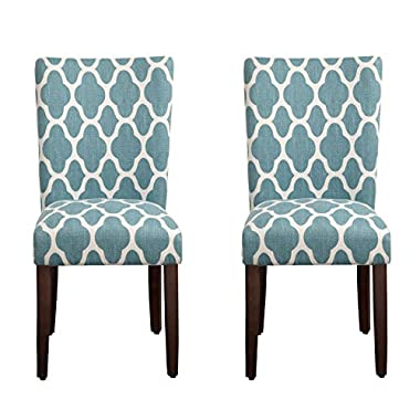 Kinfine USA K6805-F2055 Parsons Classic Dining Chair, Teal and Cream Geometric
