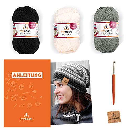 myboshi Häkel-Set Mütze Wakayama | aus No.1 | Anleitung + Wolle | mit passender Häkelnadel | Schwarz Weiß Titangrau