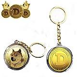MENGFEI Moneda de oro de 1 onza, monedas de Doge chapadas en oro 2021 edición limitada coleccionable con, funda protectora incluida y llavero de dos estilos (2 piezas de llavero)