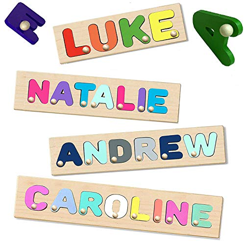 KIDZCO Wooden Name Puzzle with Peg or No...