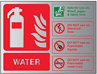 VSafety Fire Extinguisher-Water ID Sign - 150mm x 100mm - 3mm Brushed Alu Comp