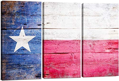 Texas Flag Canvas Wall Art Decor 3 Piece Set Large Decorative Multi Panel Split Prints Lone product image