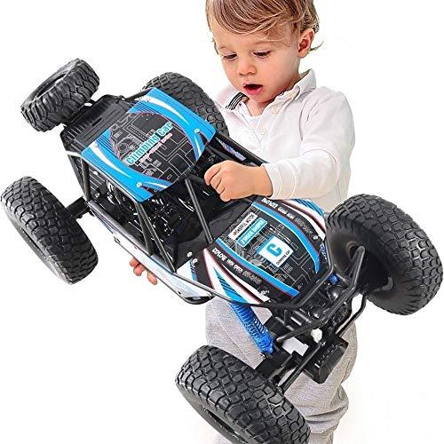 PETRLOY Telecomando Off Road Car Elettrico RC Auto Fuoristrada Giocattolo Tutti i terreni Arrampicata ad alta velocità Auto da corsa Ammortizzatori Potenti Batteria Acrobazie Auto 1:10 2.4G 4WD Blue M