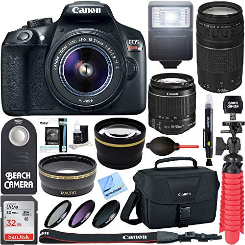 Canon T6 EOS Rebel DSLR Camera w/EF-S 18-55mm is II & 75-300mm III Lens Kit + Accessory Bundle 64GB SDXC Memory + SLR Photo Bag + Wide Angle Lens + 2X Telephoto Lens + Flash + Remote + Tripod & More