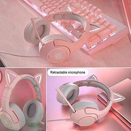 Pink Yilin Gaming-Headset 3,5-mm-stecker Geeignet F/ür Laptop//Ipad//Smartphone Niedliches Katzenohr-Headset Mit Mikrofon Rauschunterdr/ückungs-Headset Mit Licht
